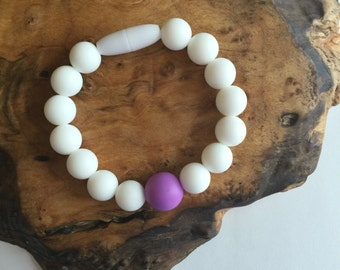 Chewable anti-anxiety bracelet in White - Choose your Accent Color, toddler sensory toys, fidget for anxiety, anxiety relief, sensory toys
