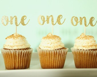 One Cupcake Toppers - First Birthday Cupcake Toppers - One Birthday Decor - Glitter Gold