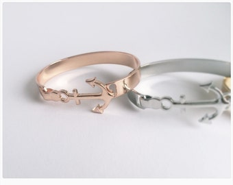 Anchor bangle ROSÉGOLD, anchor gift, maritime, bracelet, rose gold, anchor bracelet