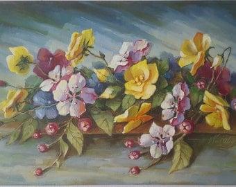 Spring Flowers original oil art oil flowers oil on canvas ready for handing 40×60cm