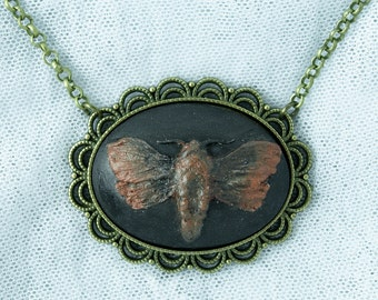 Limited to 2! Exclusive Design Moth Cameo Necklace Gothic