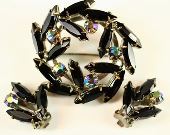 Vintage AB Black Rhinestone Brooch Clip On Earrings - Mad Men Estate Jewelry - Demi Parure Matching Set, Elegant Formal Mourning Jewellery