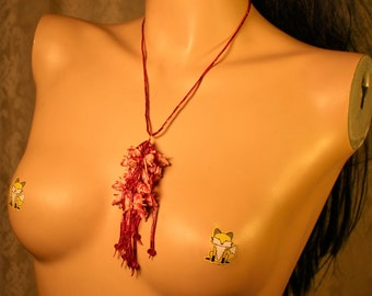 Bloody Pigs Horror Tassel Necklace with Red Glass and Crystal Beads