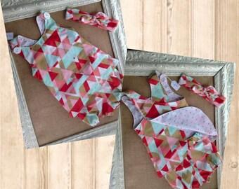 12-24 mo Gold/Aqua/Coral Triangle Reversible Apron Dress & Bloomer Set w/Top Knot