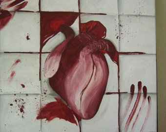 Heart on tile painting