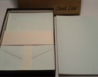 Vintage Soft Blue Classic Laid STATIONARY SET, Vintage Paper, Writing Paper