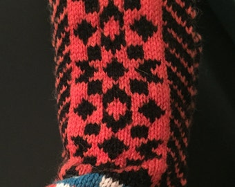 Hand knitted mittens