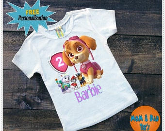 Girls Paw Patrol Birthday Tee Shirt or Bodysuit; Tee size 2T and Up; Bodysuit size 6-24 Month; FAST Mailing and FREE Personalization;