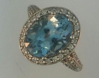 Hand Designed Vintage Inspired Aquamarine Engagement Ring