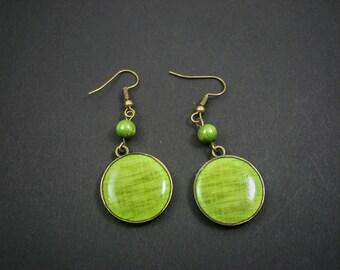 Lime Green earrings – Light Green earrings - Green bronze earrings – Round dangle earrings - Romantic Jewelry - Boho earrings - Resin (E003)