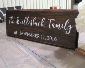 Rustic Family Name Hand Painted Sign, Established Sign, Wedding Gift, Hand Painted Sign, Rustic Wood Sign, Wood Signs, Last Name Sign