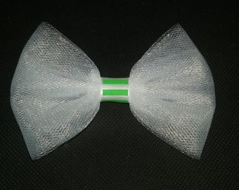 Simple white and lime tule bow