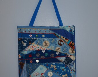 Quilted Dog Motif Tote Bag