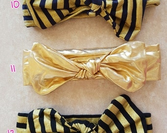 Gold Polka Dot or Stripe Baby Headband