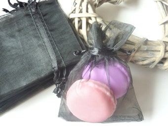 Black - Small and colourful Organza bags, Pack of 10