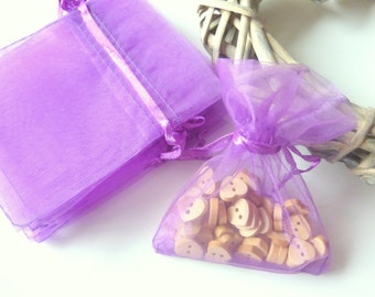 Purple - Small and colourful Organza bags, Pack of 10