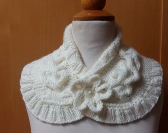 Handknit Cable Aran scarf with flower button detail