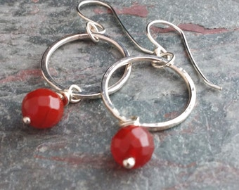 Silver hoop earrings, silver dangles, sterling silver hoops, silver and carnelian earrings, carnelian earrings, carnelian beads