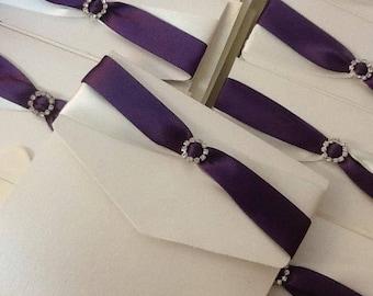 Pocketfold Wedding Invitation (Ivory pearl / Purple)