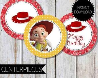Toy Story Jessie Birthday Party PRINTABLE Centerpieces- Instant Download | Western Toy Story | Disney Jessie| Cowgirl Birthday| Cake Topper