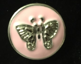 Butterfly on a pink snap - fits all snap jewelry - 18mm