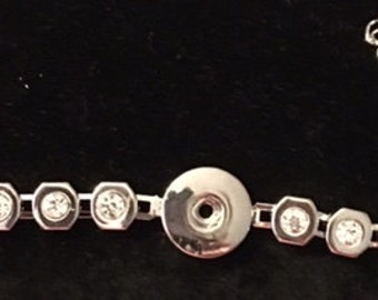 Sale - Very Lightweight Silver with Crystals Snap Bracelets