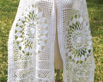 Handmade Crochet white shawl, 100% egyptian cotton