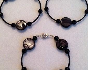Black Earrings and bracelet