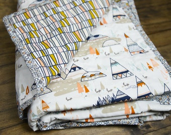 Rustic Tribal Crib Quilt, gender neutral nursery, mini baby swaddle quilt, navy blue baby blanket, Nursery Decor, Tribal aztec throw blanket
