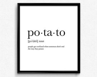 Potato definition, college dorm girl, dictionary art, minimalist poster, funny definition print, dorm decor, wedding gift, office decor