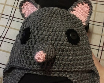 Gray rat beanie with ear flaps
