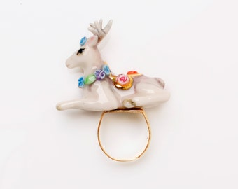 Porcelain Deer Ring/ Statement Ring/ Porcelain Ring/ Ceramic Ring/ Deer Ring/ Porcelain Ring/ Animal ring/ Ring