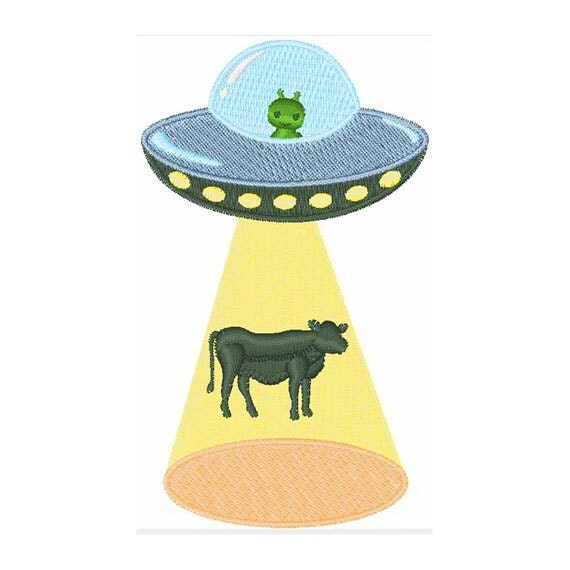 Space ship cow machine embroidery design by for Space embroidery designs