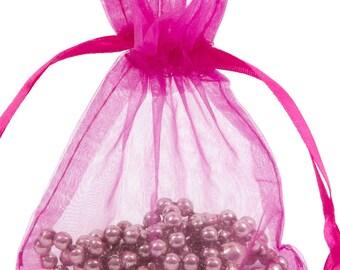 100 Fuschia Organza Gift Pouch Wedding Favour Bag Jewellery Pouch- 6 Sizes