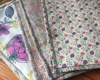 12 Organic Cloth Baby Wipes- Vintage Pink