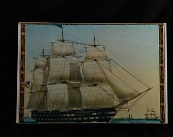 Ship Decoupage Storage Box, Trinket Box, Keepsake Box, Display Art Box