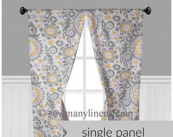 Curtain Panels Window Treatments Lavender Purple Yellow Gray Floral Curtains Custom Drapery Nursery Decor Drapes Single Panel