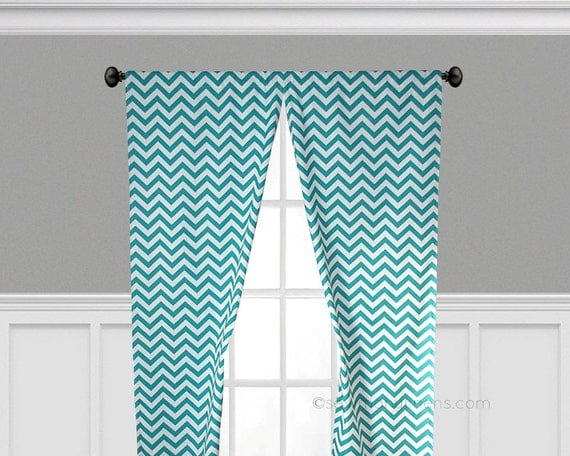Turquoise Curtain Panels Window Treatments Chevron Curtains