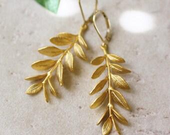 leaf earrings, gold branch earrings, nature earrings, gold drop earrings, dangle earrings, long earrings