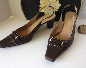 Shoes, Etienne Aigner, size 8.5M, brown sling back
