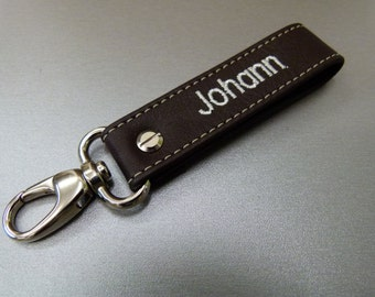 Keychains with names / initials / compose in leather and carabiner - small - leather - many different colors