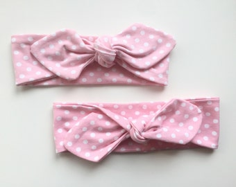 Headband pink with dots Jersey baby and mama