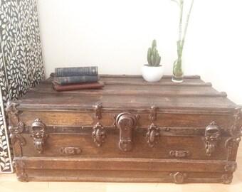 antique trunk- pirate chest- streamer trunk