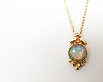 Opal Necklace in handmade setting 14K yellow gold