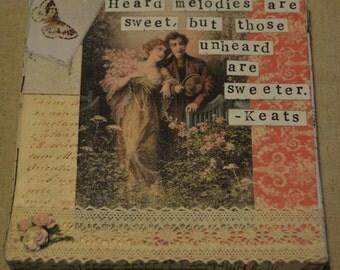 John Keats music quote on mixed-media canvas