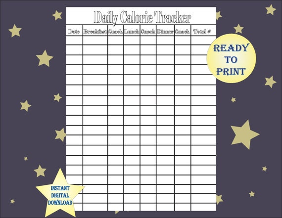 Zany image with regard to printable calorie tracker