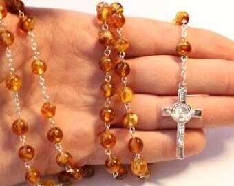"Mosaic Baltic Amber Catholic Rosary / Cross ""variegated"""