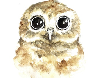 Baby Owl Watercolor Print