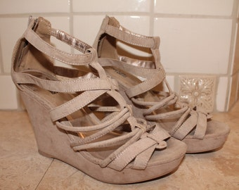 Strappy Tan Wedge Heels