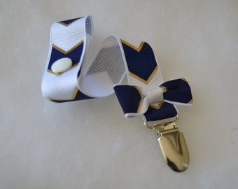 Boy White Navy Blue And Gold Chevron Print Grosgrain Ribbon Pacifier Clip Soothie Holder